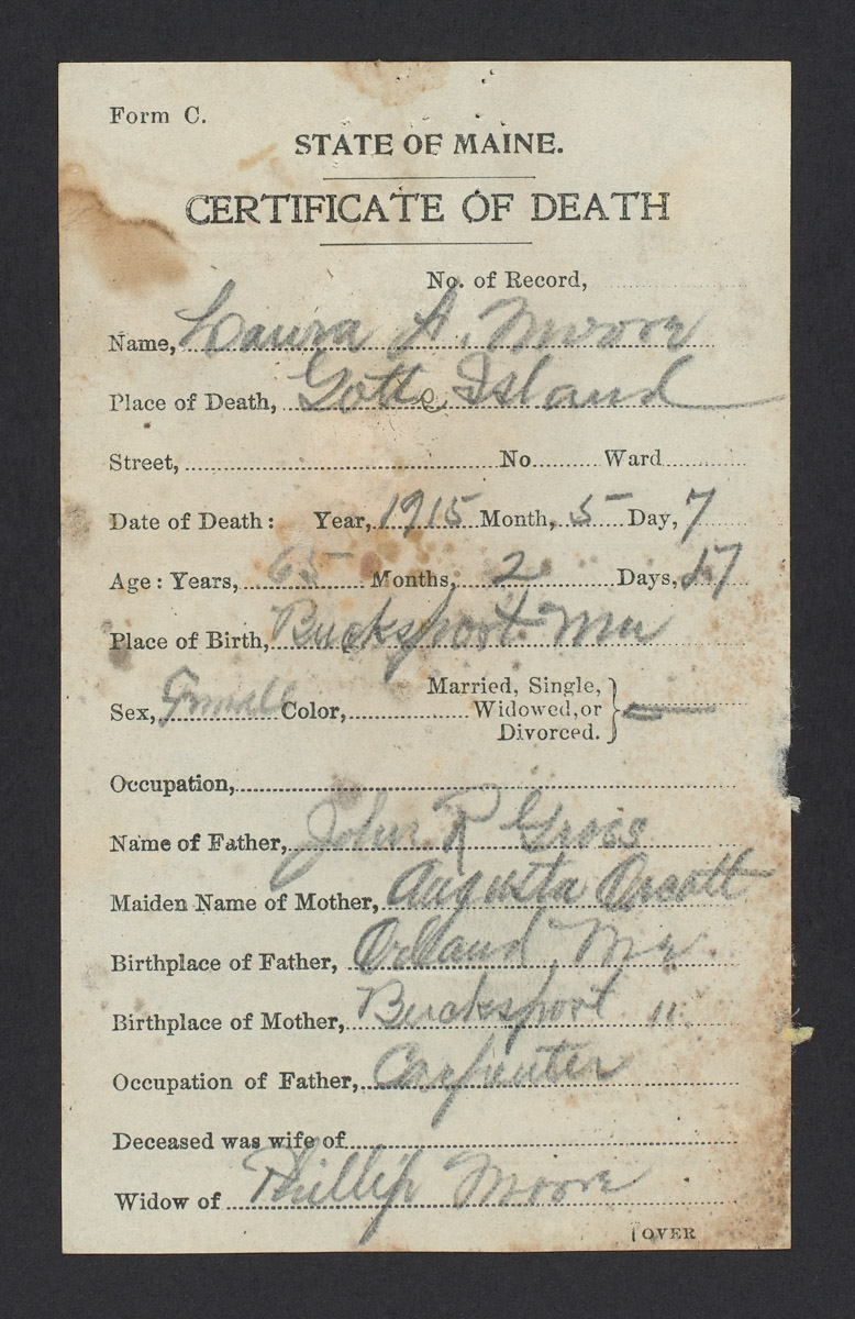 Laura A. Moore Death Certificate,  May 1915