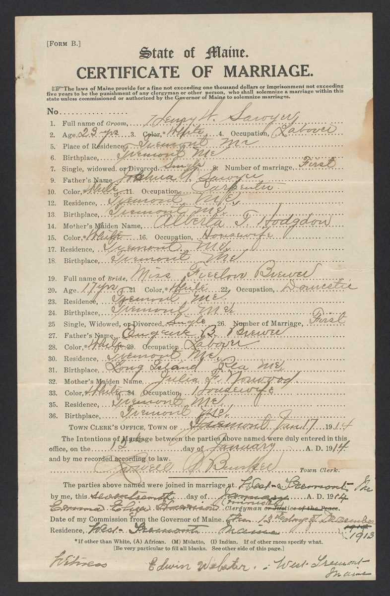 Henry W. Sawyer and Freelove Brewer Marriage Certificate, January 17, 1914