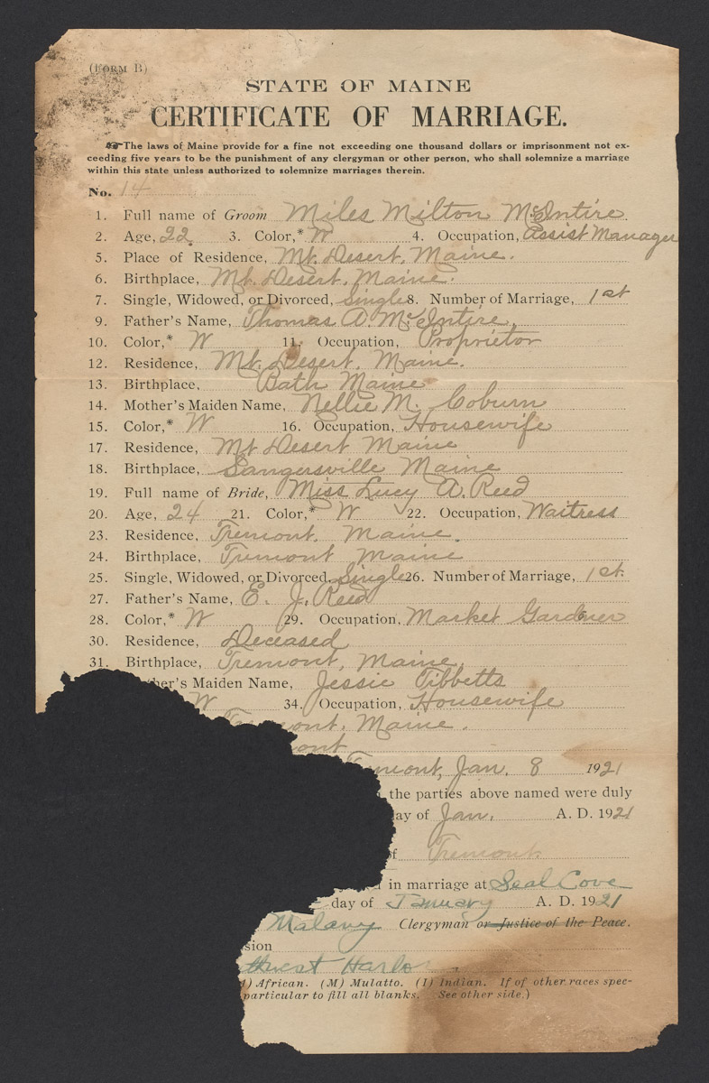 Miles Milton McIntire and Lucy A. Reed Marriage Certificate, January 8, 1921