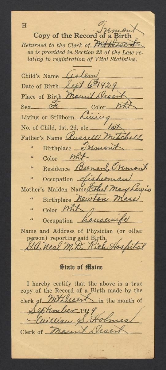 Arlene Mitchell Record of Birth, September 6, 1929
